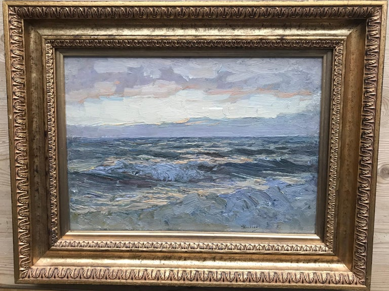 Giorgio Belloni, Italian Impressionist, plein air seascape, Ligurian coast - Painting by Giorgio Belloni