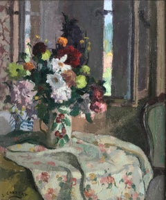 Louis Charrat, French Impressionist still life of summer flowers on a table