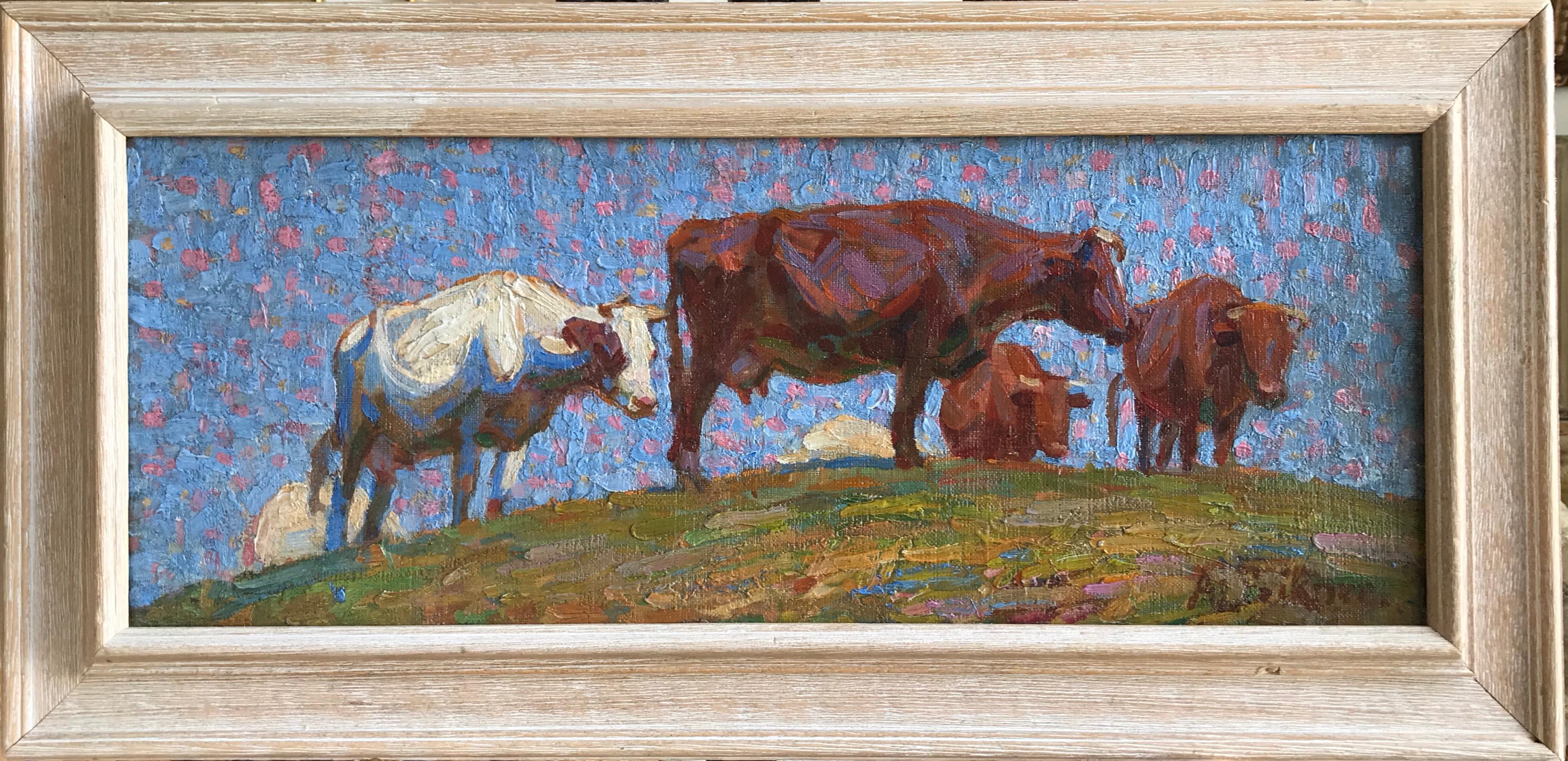Anne Louise Falkner, British Impressionist, cattle on a hillside