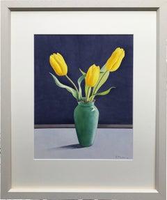 Christopher Ryland, Three Yellow tulips, still life, contemporary artist