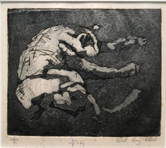 Robert Henry Lewis, Modernist etching of Sofie the sleeping cat