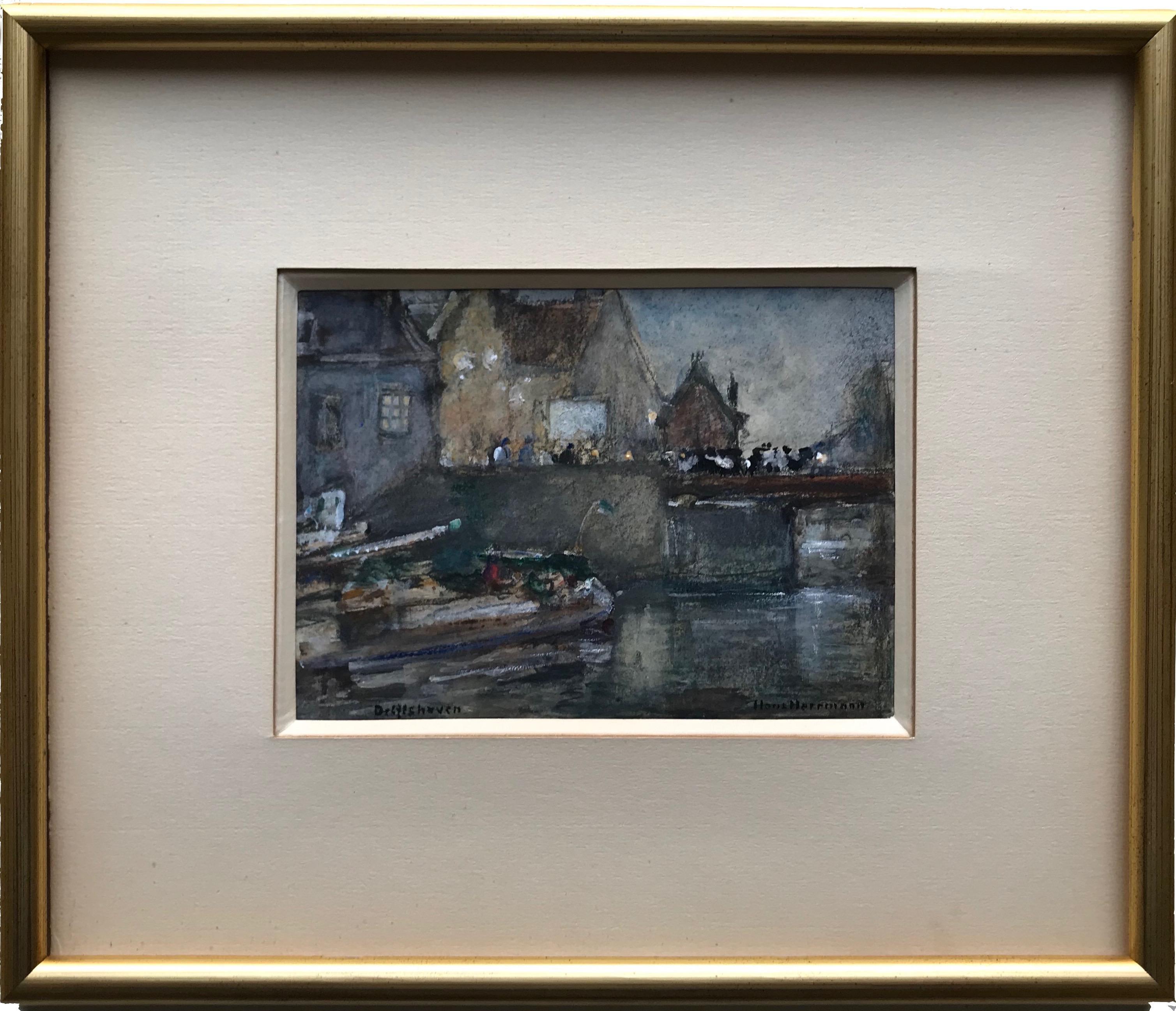 Hans Herrmann, Impressionist Harbour scene, Delfshaven Rotterdam, German painter