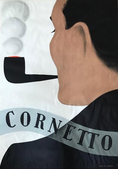 Hugo Laubi, Art Deco poster, Cornetto, pipe smoking 1930s advertising poster