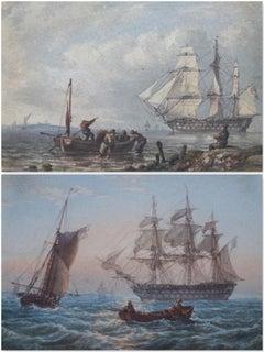 William Joy, A pair of 19th Century Marine scenes with man o'war