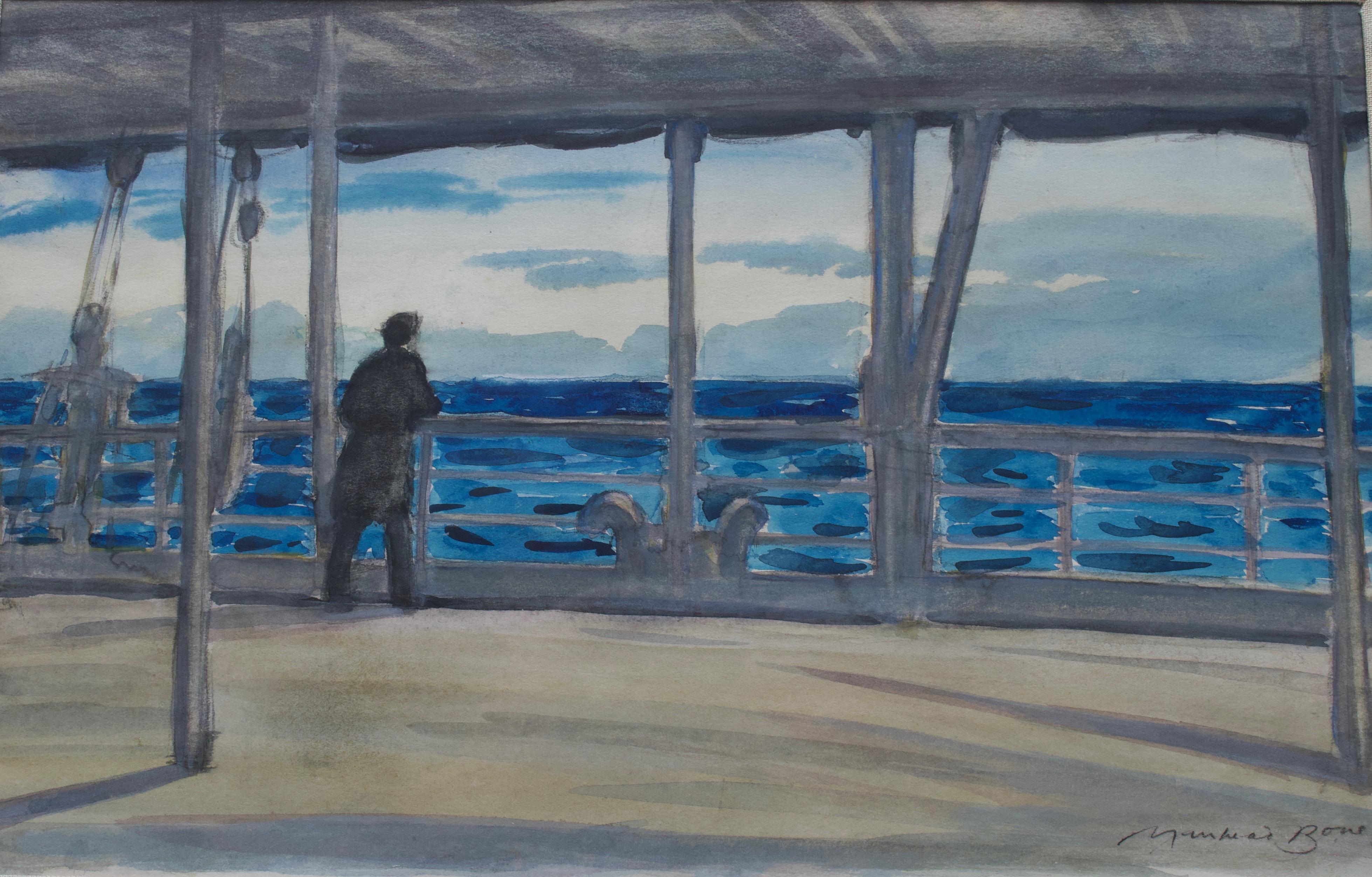 Sir David Muirhead Bone, A Mediterranean evening on a P & O cruise liner