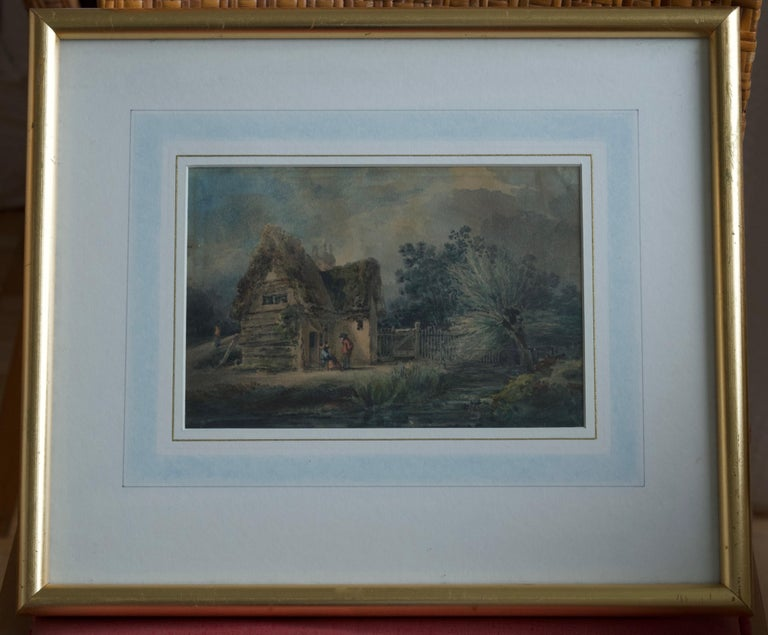English School, 19th Century, Victorian rustic scene, Thatched cottage - Art by Unknown