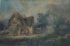 English School, 19th Century, Victorian rustic scene, Thatched cottage