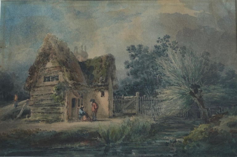 Unknown Figurative Art - English School, 19th Century, Victorian rustic scene, Thatched cottage