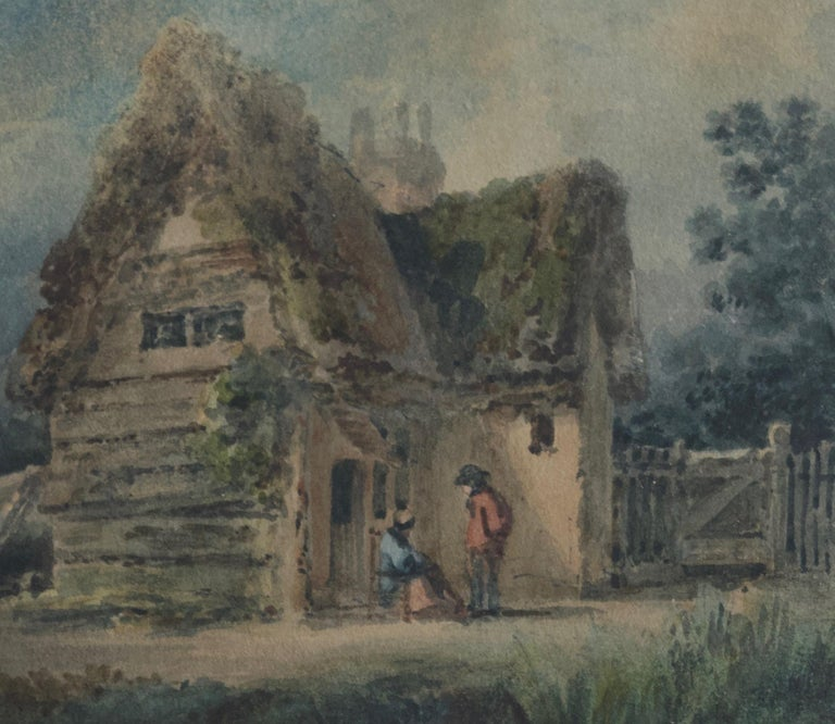 English School, 19th Century, Victorian rustic scene, Thatched cottage - Gray Figurative Art by Unknown