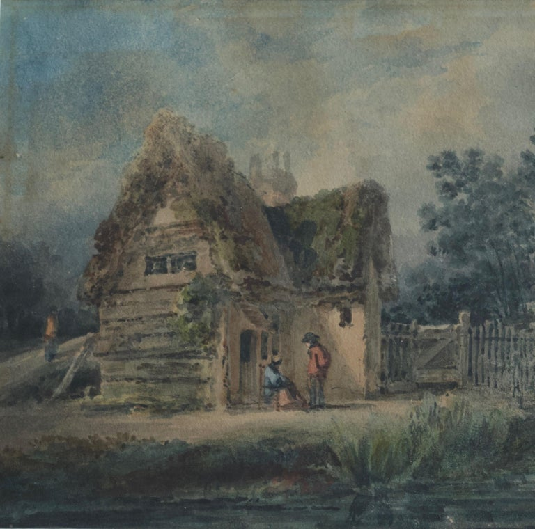 A delightful rustic scene from the Victorian period with figures chatting outside a thatched cottage   English School, mid 19th Century Figures conversing by a cottage and stream Watercolour 5½ x 8½ inches 13¼ x 15¼ inches with frame