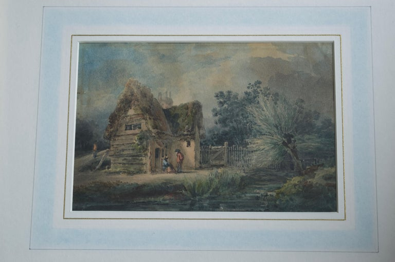 English School, 19th Century, Victorian rustic scene, Thatched cottage For Sale 1