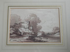 English School, 18th Century Georgian watercolor, Watermill in a landscape