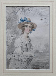 Follower of Francis Wheatley, 19th century portrait of young maiden with flowers