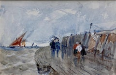 Follower of David Cox, 19th Century watercolor, Figures on the waterfront