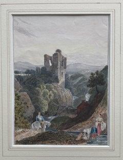 Circle of Samuel Prout, 19th Century watercolor, Castle in a river landscape