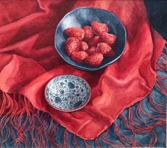 Janet Skea, Still life of strawberries and silk scarf, photo-realist watercolor