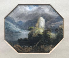 19th Century Romantic watercolor, Follower of JMW Turner, The castle on the loch