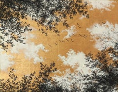 Empathy Towards Things No 1  landscape gold leaf pigment on paper nature clouds