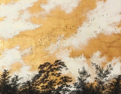 Empathy Towards Things No 2  landscape gold leaf pigment on paper nature clouds
