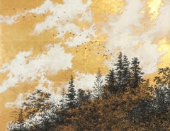 Empathy Towards Things No 3  landscape gold leaf pigment on paper clouds nature