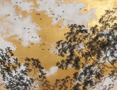 Empathy Towards Things No 4  landscape gold leaf pigment on paper clouds nature