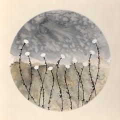 """Quietude No 5"" 80x80cm floral painting acrylic ink canvas blue white beige"