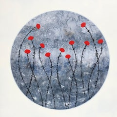 """Little Red Flowers"" contemporary floral painting acrylic ink, canvas blue red"