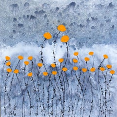 """Flower Field"" contemporary floral painting acrylic ink on canvas orange nature"