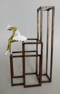 """White Swan II"" contemporary bronze table, mural sculpture figurative ballet"