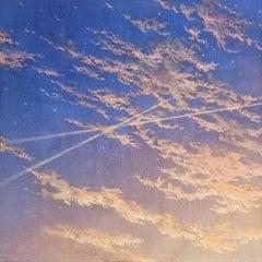 """Sensitivity to Ephemeral I"" landscape pigments silver leaf on paper sky clouds"