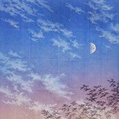 """Sensitivity to Ephemeral III"" landscape pigment silver leaf on paper sky clouds"