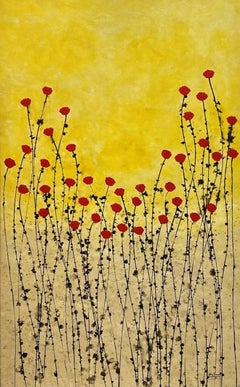"""""""Golden Field"""" 130x80cm painting acrylic Ink on canvas red flowers nature sunset"""