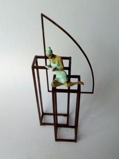 """Literature"" contemporary bronze mural sculpture figurative girl reading book"