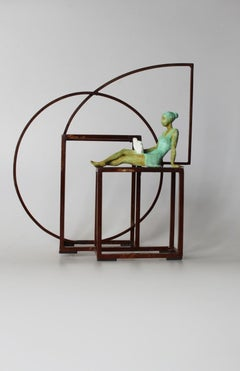 """Prose"" contemporary bronze mural sculpture figurative girl reading book freedom"