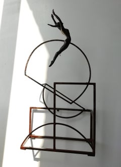 """Bauhus"" contemporary bronze table, mural sculpture figurative girl freedom"