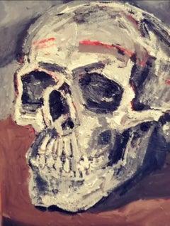 """Skull on my Dining Room Table (April 2020 Lockdown)"" Figurative Painting"
