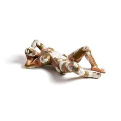 """Katy as Lucian Freud's Naked Solicitor"" Nude Figurative Sculpture, Brass, White"