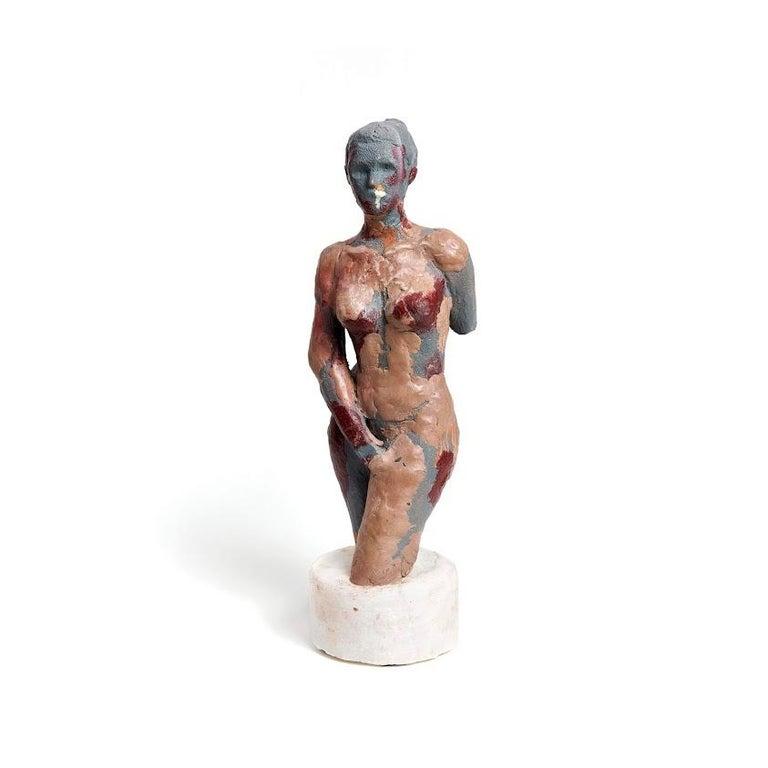 """George Petrides Nude Sculpture - """"Alex de Milo"""" Nude Figurative Sculpture, Grey, Brown, Red"""