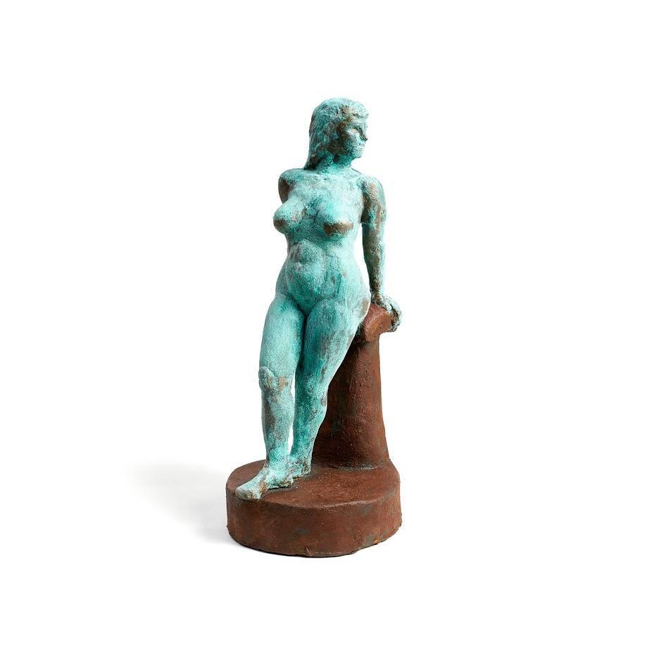 """""""Katy, Jazz Musician"""" Nude Figurative Sculpture, Blue, Brass, Rust"""