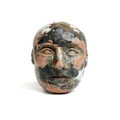 """Reacher"" Portrait Figurative Sculpture, Black, Beige"