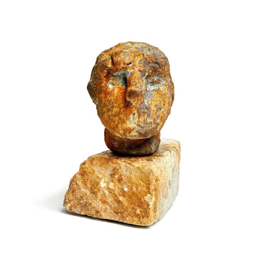 """Brutus "" Figurative Portrait Sculpture, Rust Orange"
