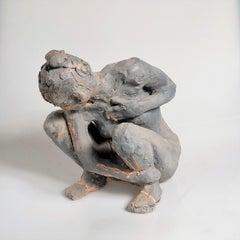 """Anais Accroupie"" Nude Figurative Medium Sculpture, Grey Clay"