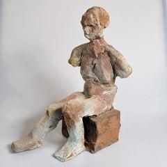"""Raymond Bhabha"" Nude Figurative Medium Sculpture, Green Grey"