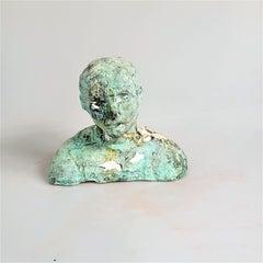 """Rebecca, A Dancer"" Small Figurative Portrait Sculpture, Green"