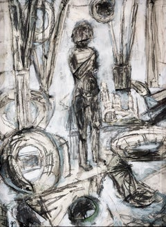 """""""Figure in Blue Space"""" Figurative Abstract Drawing, Black, White, Blue"""
