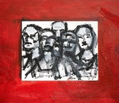 """Katarina x 5"" Figurative Drawing, Red, White, Black"