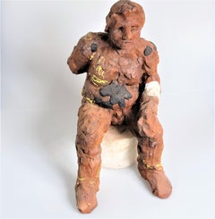 """""""Middle-aged Guy (Raymond or Me)"""" Nude Figurative Medium Sculpture Red Black"""