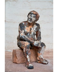 """""""Raymond as Boxer at Rest"""" Nude Figurative Sculpture, Red, Black"""