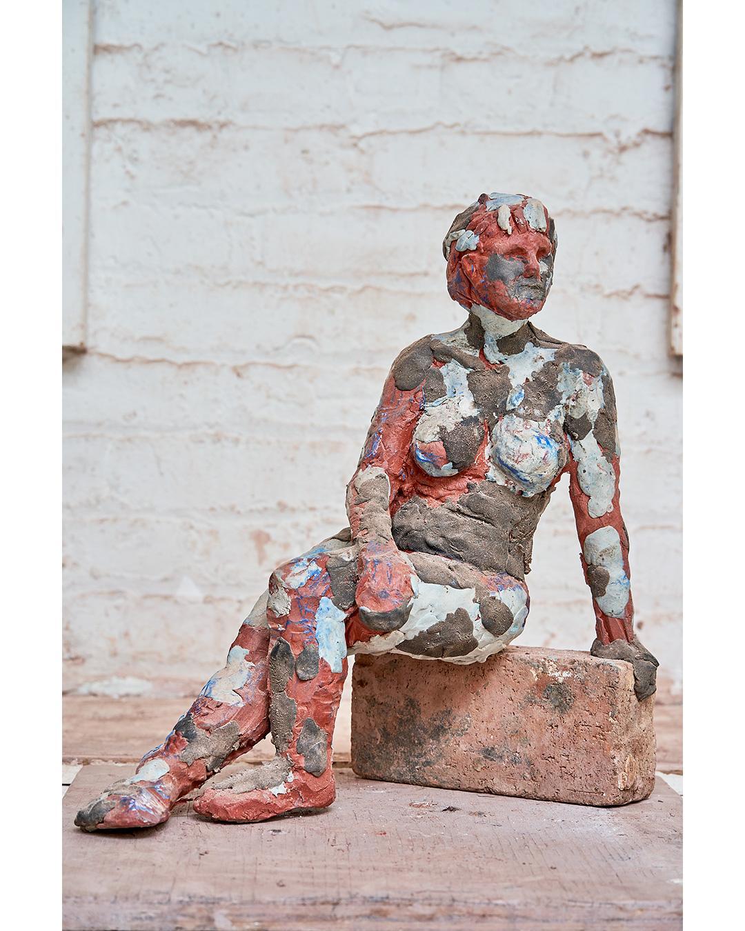 """""""Frances Regarding"""" Nude Figurative Sculpture, Beige, Grey, White"""