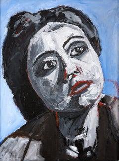 """Emily, Untitled Film Still"" Portrait, Figurative Drawing, Blue Background"